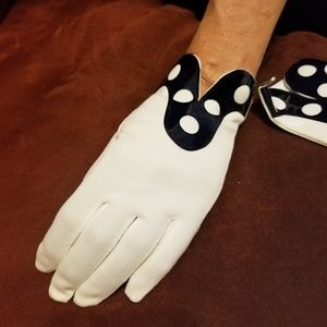 FOWNES MOD 1960'S VINTAGE GLOVES WHITE/NAVY SIZE S